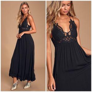 Free People Adella Maxi Slip Black Dress Small